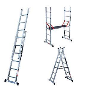 Youngman Professional 5 Way Aluminium Combination Ladder with Deck - Max Height 2.3m
