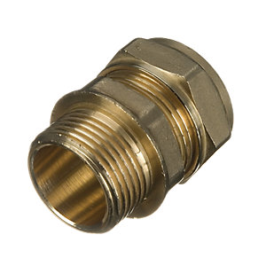 Wickes Brass Compression Male Iron Coupler - 15mm x 3/4in