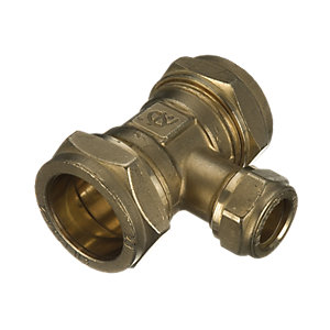 Wickes Brass Compression Reducing Tee - 22 x 22 x 15mm