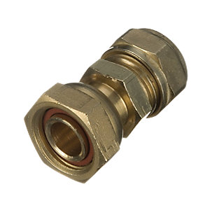 Wickes Brass Compression Straight Tap Connector - 15mm