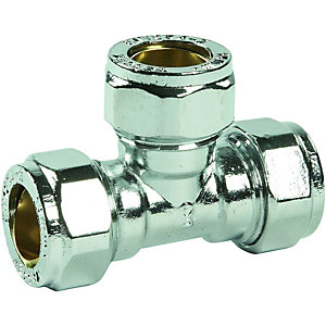 Wickes Chrome Plated Compression Tee - 15mm