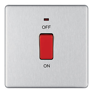 Wickes 45A 1 Gang Cooker Switch Brushed Steel Screwless Flat Plate