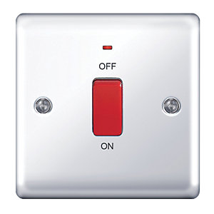 Wickes 45A 1 Gang  Cooker Switch Polished Chrome Raised Plate