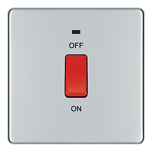 Wickes 45A 1 Gang Cooker Switch Polished Chrome Screwless Flat Plate