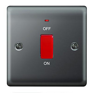 Wickes 45A Cooker Switch 1 Gang Black Nickel Raised Plate