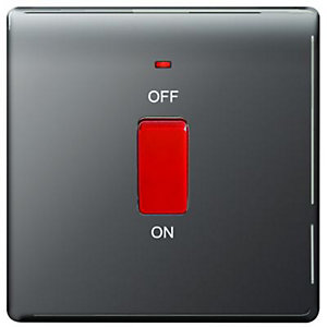Wickes 45A Cooker Switch 1 Gang Black Nickel Screwless Flat Plate