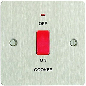 Wickes 45A Cooker Switch 1 Gang Brushed Steel Ultra Flat Plate