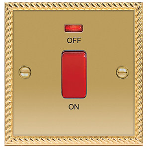 Wickes 45A Cooker Switch 1 Gang Georgian Brass Raised Plate