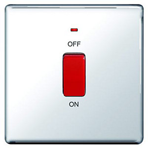 Wickes 45A Cooker Switch 1 Gang Polished Chrome Screwless Flat Plate