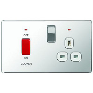 Wickes 45A Cooker Switch & 13A Socket Polished Chrome Screwless Flat Plate