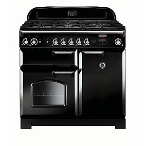 Rangemaster Classic 100 Natural Gas Range Cooker - Black with Chrome Trim