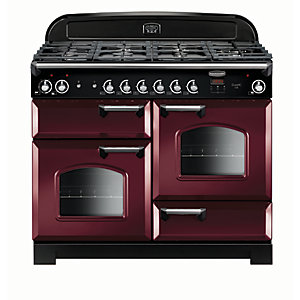 Rangemaster Classic 110 Dual Fuel Range Cooker - Cranberry with Chrome Trim