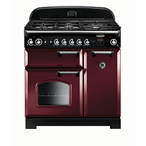 Rangemaster Classic 90 Natural Gas Range Cooker - Cranberry with Chrome Trim