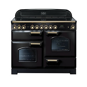 Rangemaster Classic Deluxe 110 Ceramic Cooker - Black with Brass Trim