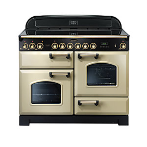 Rangemaster Classic Deluxe 110 Ceramic Cooker - Cream with Brass Trim