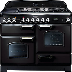 Rangemaster Classic Deluxe 110 Dual Fuel Range Cooker - Black with Chrome Trim