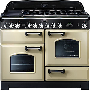 Rangemaster Classic Deluxe 110 Dual Fuel Range Cooker - Cream with Chrome Trim