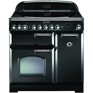 Rangemaster Classic Deluxe 90 Ceramic Range Cooker - Black with Chrome Trim