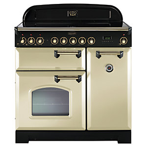 Rangemaster Classic Deluxe 90 Ceramic Range Cooker - Cream with Brass Trim