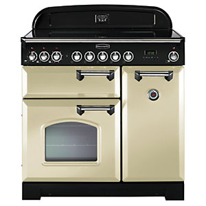 Rangemaster Classic Deluxe 90 Ceramic Range Cooker - Cream with Chrome Trim