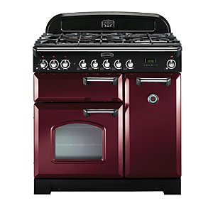 Rangemaster Classic Deluxe 90 Dual Fuel Range Cooker - Cranberry with Chrome Trim