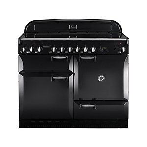 Rangemaster Elan 110 Ceramic Cooker - Black with Chrome Trim