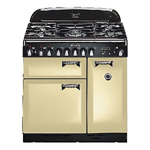 Rangemaster Elan 90 Dual Fuel Range Cooker - Cream with Chrome Trim
