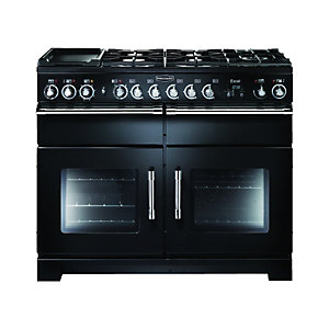Rangemaster Excel 110 Dual Fuel Range Cooker - Black with Chrome Trim