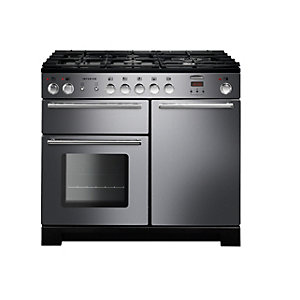 Rangemaster Infusion 100 Dual Fuel Range Cooker - Stainless Steel with Chrome Trim