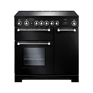Rangemaster Kitchener 90 Ceramic Cooker - Black with Chrome Trim