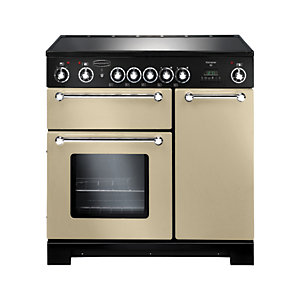 Rangemaster Kitchener 90 Ceramic Cooker - Cream with Chrome Trim