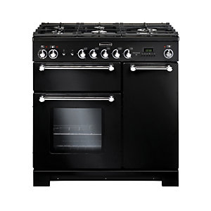 Rangemaster Kitchener 90 Dual Fuel Range Cooker - Black with Chrome Trim