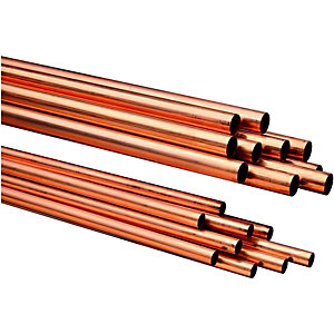 Wickes Copper Pipe 15mm x 3m Pack 10