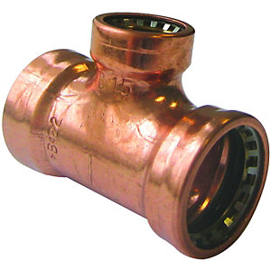 Wickes Copper Pushfit Reducing Tee - 22 x 22 x 15mm