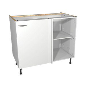 Wickes Dakota White Matt Slab Corner Base Unit - 1000mm