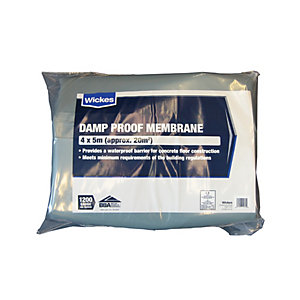 Wickes 1200 Gauge Blue Damp Proof Membrane - 4 x 5m