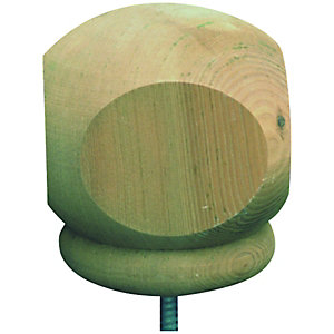 Wickes Squared Deck Post Ball - Green 77 x 77 x 93mm
