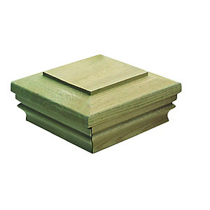 Wickes Timber Newel Post Slipover Cap - Green 135 x 135 x 62mm