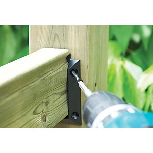 Wickes Deck Railing Kit Hanger Brackets - 97 x 61mm Black Pack of 2