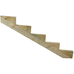 Wickes Decking Stair Stringer 5 Tread - Light Green 225mm x 1.45m