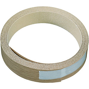 Wickes Iron On Edging Tape Oak Effect 19 x 2500mm