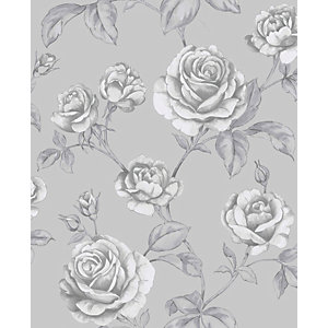 Boutique Countess Silver Decorative Wallpaper - 10m