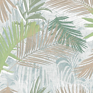 Boutique Jungle Glam White/Gold/Green Decorative Wallpaper - 10m