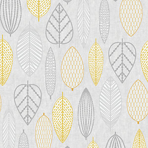 Superfresco Easy Scandi Leaf Wallpaper Yellow - 10m
