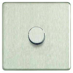 Wickes Dimmer Switch 1 Gang 2 Way 400W Brushed Steel Screwless Flat Plate