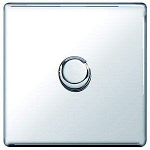 Wickes Dimmer Switch 1 Gang 2 Way 400W Polished Chrome Screwless Flat Plate