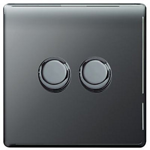 Wickes Dimmer Switch 2 Gang 2 Way 400W Black Nickel Screwless Flat Plate