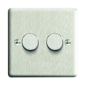 Wickes Dimmer Switch 2 Gang 2 Way 400W Brushed Steel Raised Plate