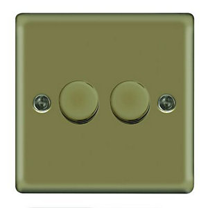 Wickes Dimmer Switch 2 Gang 2 Way 400W Pearl Nickel Raised Plate