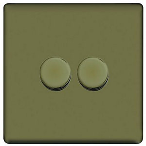 Wickes Dimmer Switch 2 Gang 2 Way 400W Pearl Nickel Screwless Flat Plate